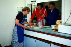 Lining up the bacon sandwiches