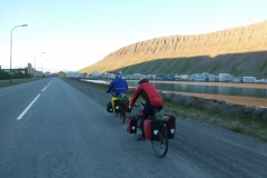 Cycling to accommodation in Isafjordur