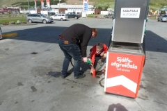Filling up with petrol for Bob's stove