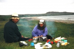 Wild camping - the only sort available on the island - with midge protection
