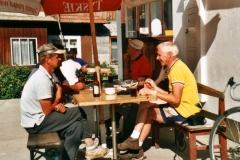 Chatting to the locals, who were intrigued by how old we were (50, 60 and 70)