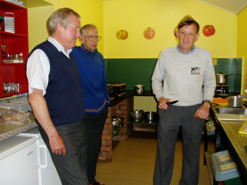Lew, Ray and Roger in the kitchen - Welsh Bicknor Youth Hostel