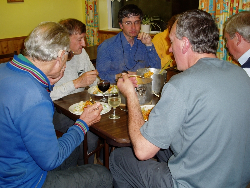 Enjoying a meal at the end of the day