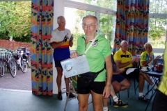 One of the older riders (74) with his 100-mile certificate