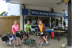 Sheila, Bob and Denis ready to leave the Long Itch Diner