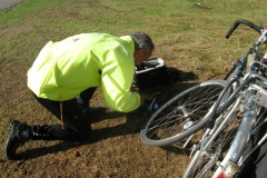 George fixing a puncture in Bradgate Park
