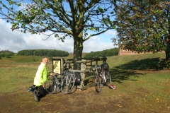 Scenic puncture repair, George fixing a puncture in Bradgate Park