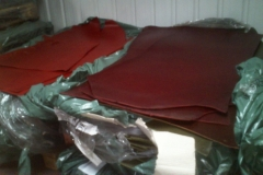 Sheet leather waiting to be cut