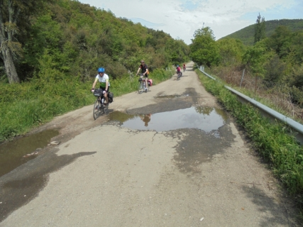 A mega pothole on a descent from the hills