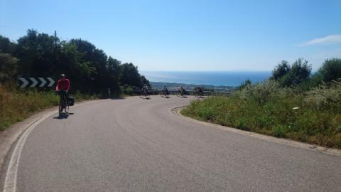 Climbing inland from the coast