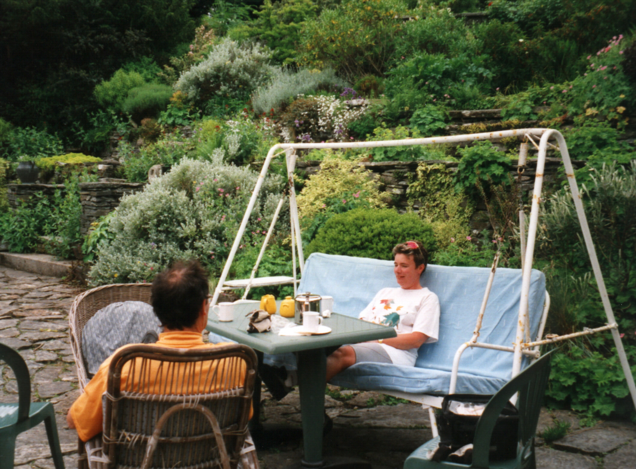 An idyllic looking scene in the garden of Colonsay House, but there were midges about...