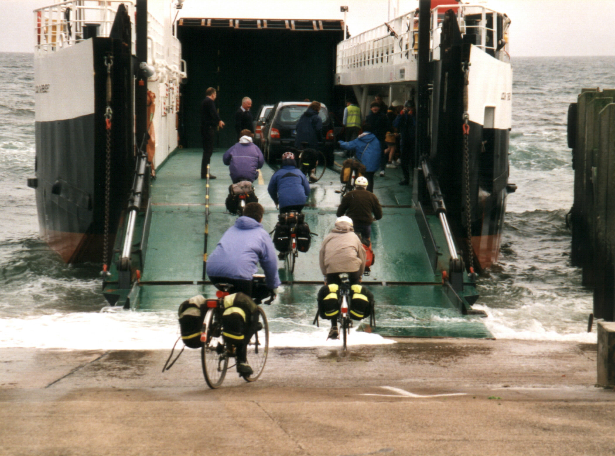 Ferry to Lochranza, Isle of Arran, with a group of Irish cyclists