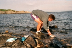 Washing up in the sea